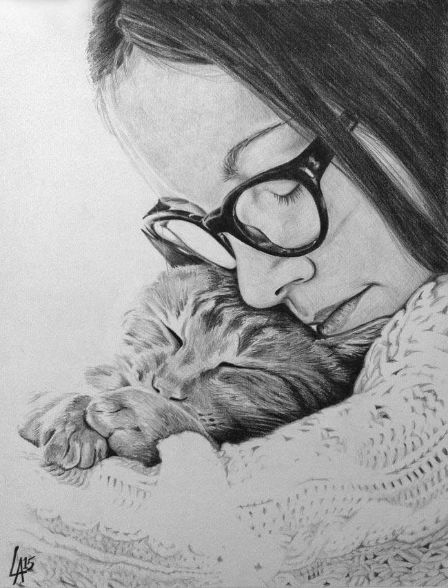 CAT LOVE - pet portrait drawn on illustration board