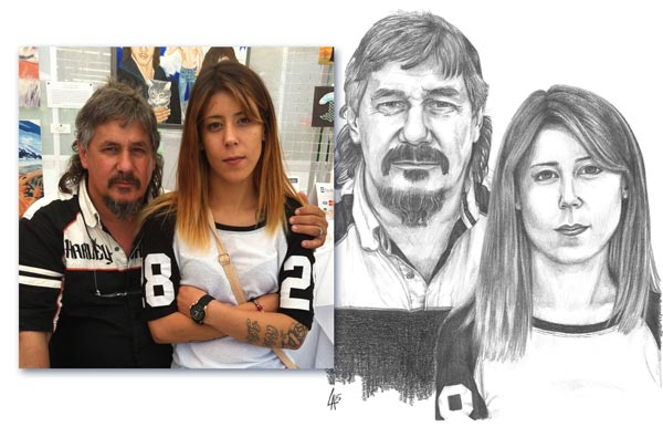 FATHER & DAUGHTER - photos shown - pencil drawn portrait on illustration board