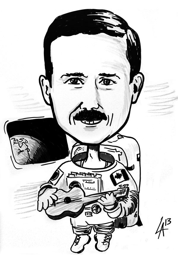 Caricature of Col. Chris Hadfield – First Canadian Astronaut to walk in space