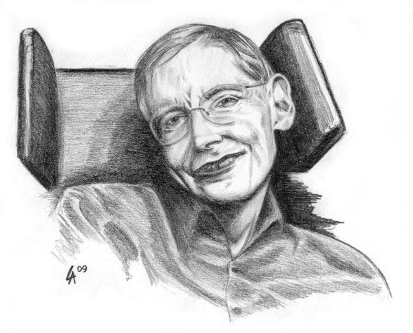 Pencil drawn portrait of Stephen Hawking