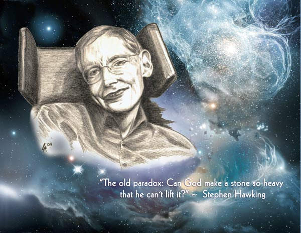 Portrait of Stephen Hawking, mixed media digital illustration