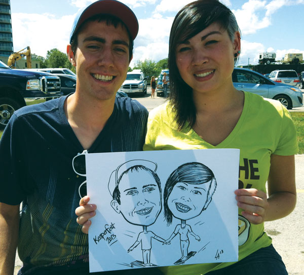 Caricature of couple drawn at Kempenfest