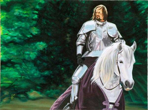 "KNIGHT IN SHINING ARMOUR, oil painting on 18"" x 24"" gallery canvas"