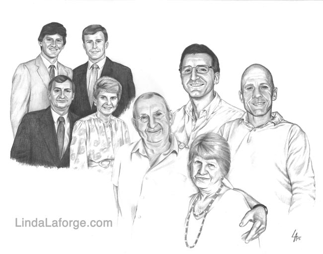 "THEN & NOW Family Portrait - pencil drawn portrait on 16"" x 20"" illustration board"
