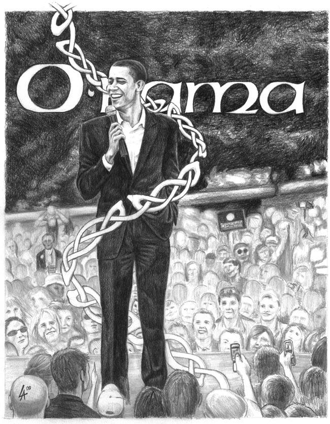 2 Per Cent Irish, Obama - pencil drawn portrait on illustration paper