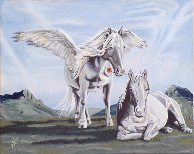 Pegasus asking his unicorn for forgiveness, acrilyc panting