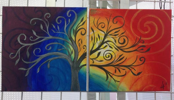 "Soul Trees, set of two 10"" x 10"" square acrylic paintings"