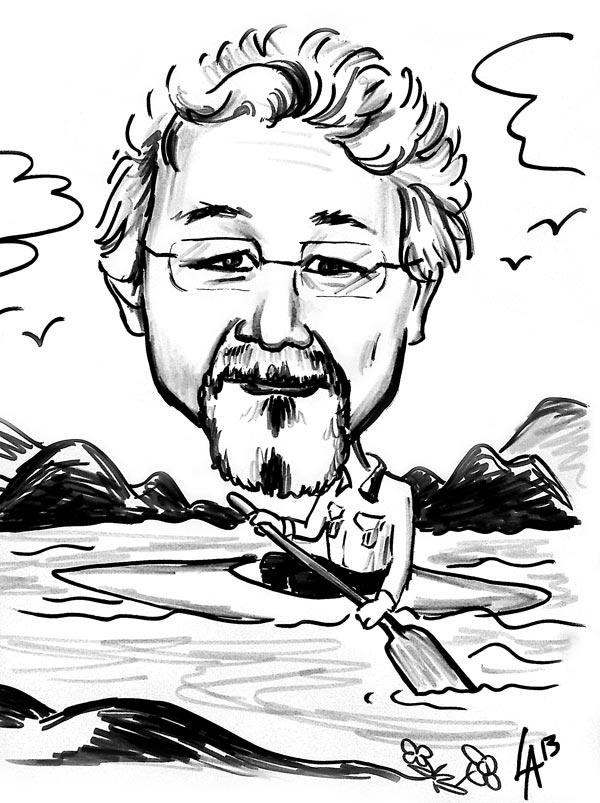 Caricature of David Suzuki, Canadian academic, science broadcaster and environmental activist Caricature