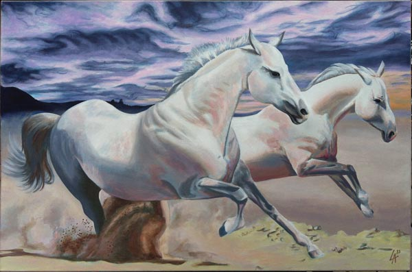 "Wild horses, original acrylic painting of horses on 24"" x 36"" gallery canvas"