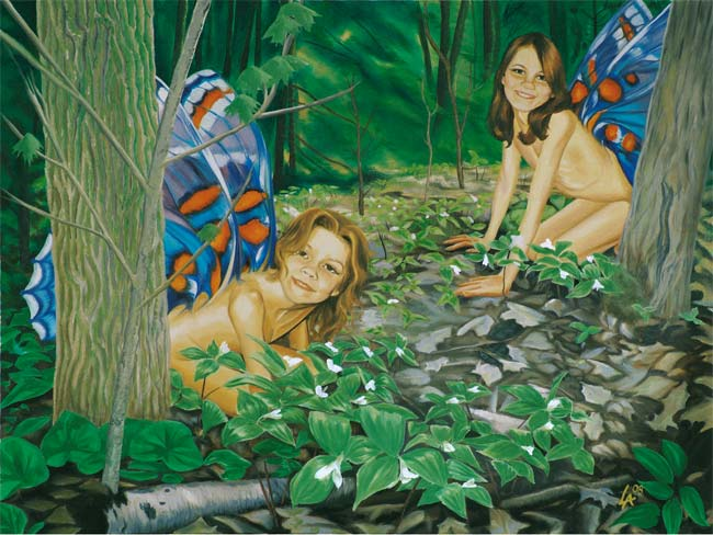 "Original acrylic painting of two young fairies playing in their forest on 18"" x 24"" gallery canvas"