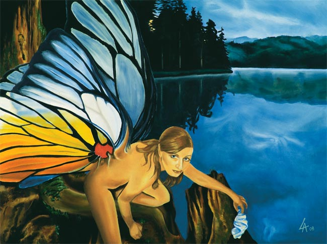 "Original acrylic painting of a fairy displeased by plastic garbage in her lake on 18"" x 24"" gallery canvas"
