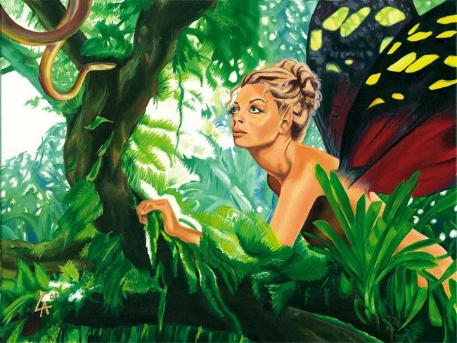 Fairy from Cost Rica in the jungle, original oil painting
