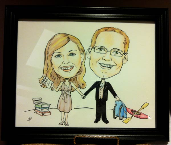 Colour Caricature of two members of a Wedding party, commissioned to be their gift. Mixed media, ink and water colour