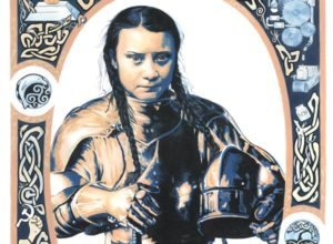 Greta Thunberg thumbnail of original portrait, including caricature and celtic designs