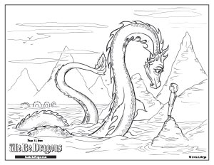 boy hanging with a dragon, sea searpent